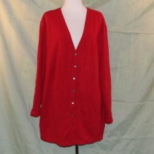 Plus Size 2X Red Cardigan Long Length